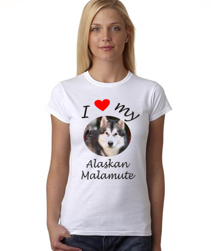 Dogs - I Heart My Alaskan Malamute on Womans Shirt