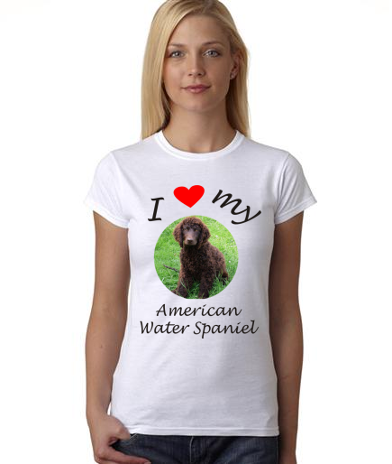 Dogs - I Heart My American Water Spaniel on Womans Shirt
