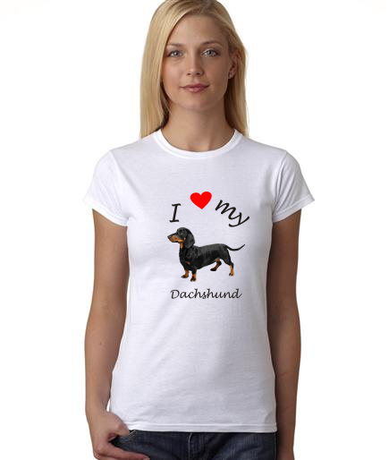 Dogs - I Heart My Dachshund on Womans Shirt