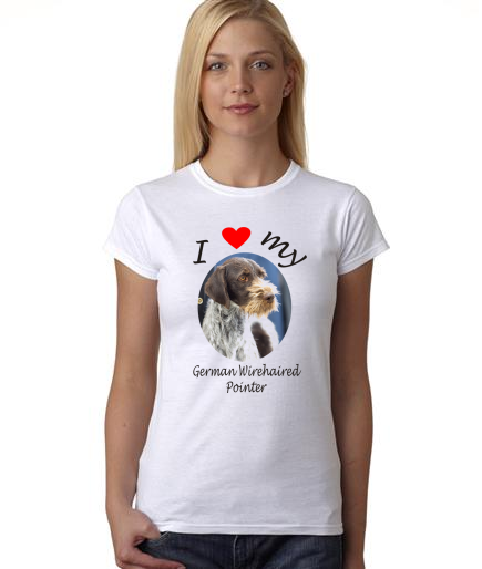 Dogs - I Heart My German Wirehaired Pointer on Womans Shirt