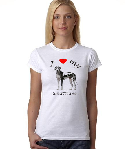 Dogs - I Heart My Great Dane on Womans Shirt