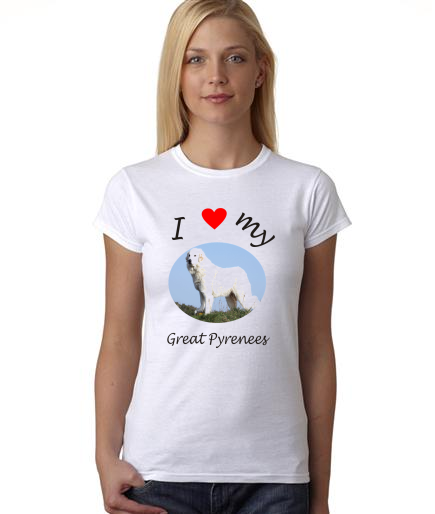 Dogs - I Heart My Great Pyrenees on Womans Shirt