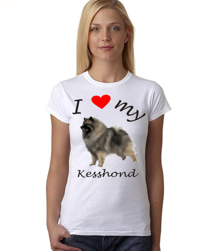 Dogs - I Heart My Kesshond on Womans Shirt