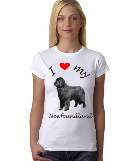 Dogs - I Heart My Newfoundland on Womans Shirt
