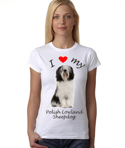 Dogs - I Heart My Polish Lowland Sheepdog on Womans Shirt
