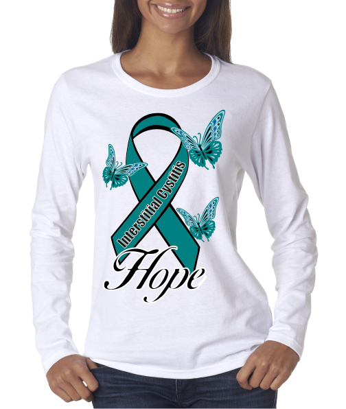 Interstitial Cystitis IC Hope on Ladies LS shirt